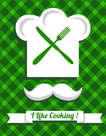 masters: Green Kitchen icons set of tools. Vector illustration.