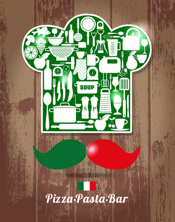 menu tool: Italian chief cook. Kitchen abstract background of restaurant.