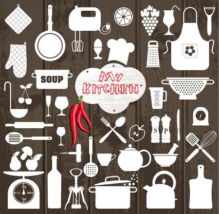 食べ物: キッチン木製テクスチャ上のツールのアイコンを設定。