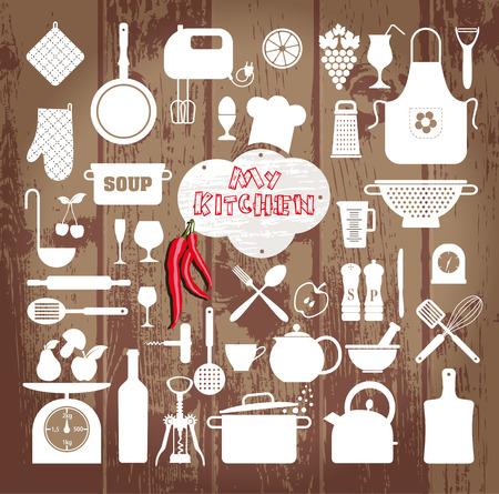 icônes de cuisine ensemble d'outils sur la texture bois.