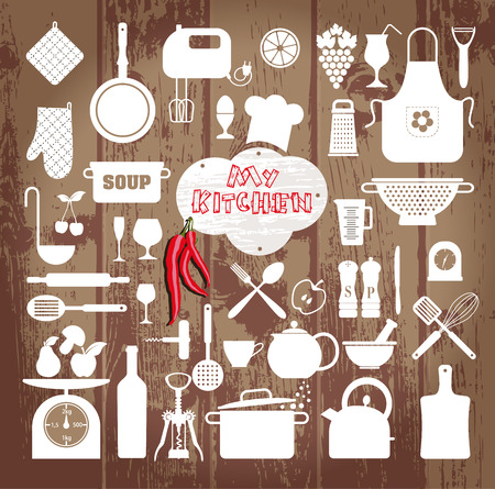 home cooking: Kitchen icons set of tools on wooden texture.