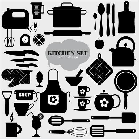 Kitchen icons set of tools.Vector backround. Illustration
