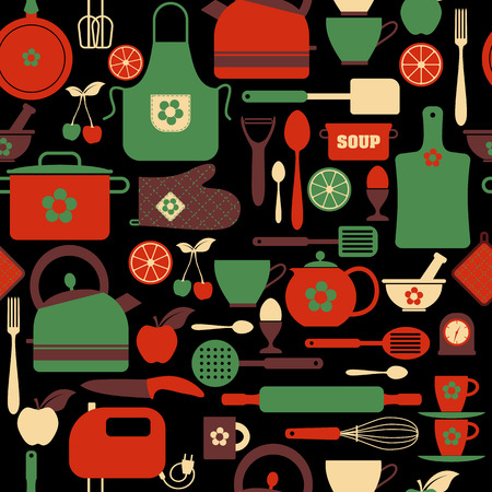 kitchen tools: Seamless pattern kitchen tools. Abstract pattern of kitchen.