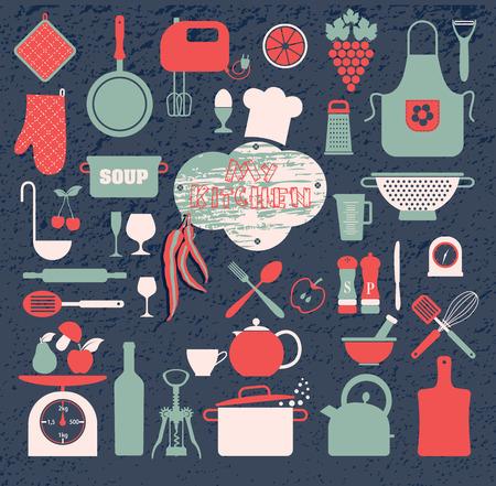 delantal: Iconos de cocina conjunto de herramientas. Color apaisada vectorial. Vectores