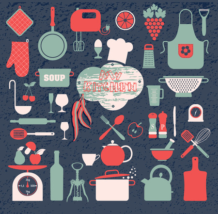kitchen aprons: Kitchen icons set of tools. Color vector backround.