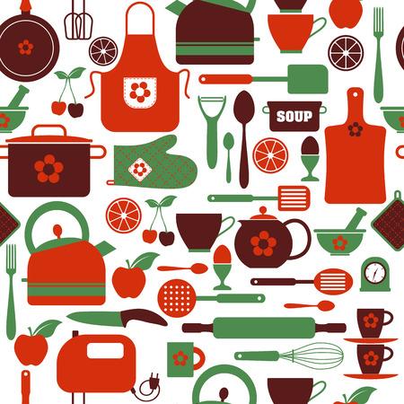 Het naadloze patroon van keukengerei. Abstract patroon van de keuken. Stockfoto - 39120341