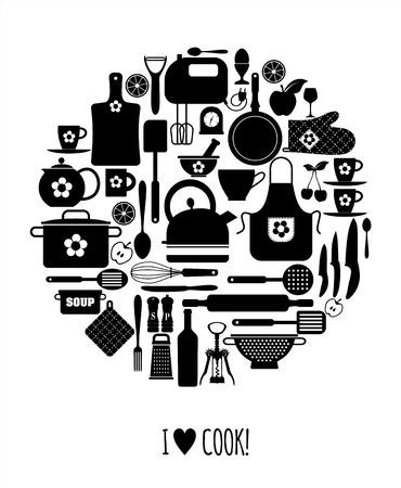 love card: Tarjeta de amor de la cocina. Vectores