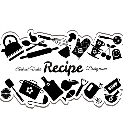 drink tools: Kitchen icons set of tools. Black vector backround.