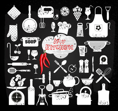 Kitchen abstact icons set Vector