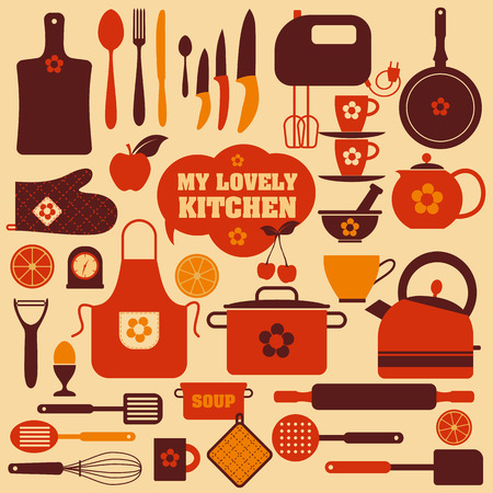 home cooking: Kitchen icons set of tools. Color vector backround.