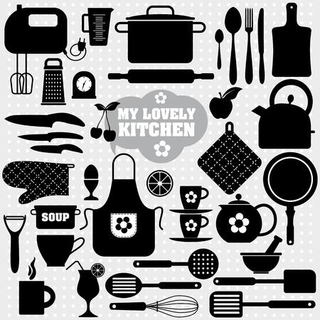 cooking: Iconos cocina conjunto de herramientas. Backround vector Negro. Vectores