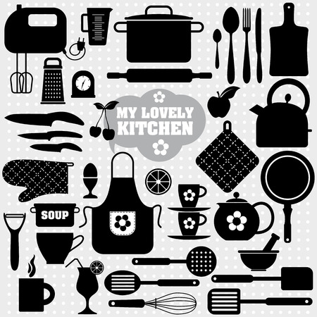 home cooking: Kitchen icons set of tools. Black vector backround.