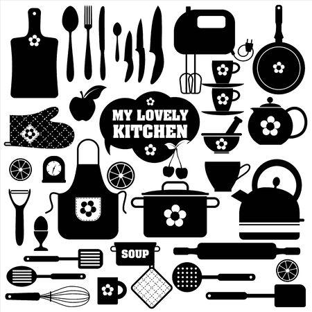 icônes de cuisine ensemble d'outils. Noir vecteur backround.
