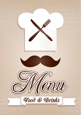 masters: Chief cook. Kitchen abstract background of restaurant. Illustration