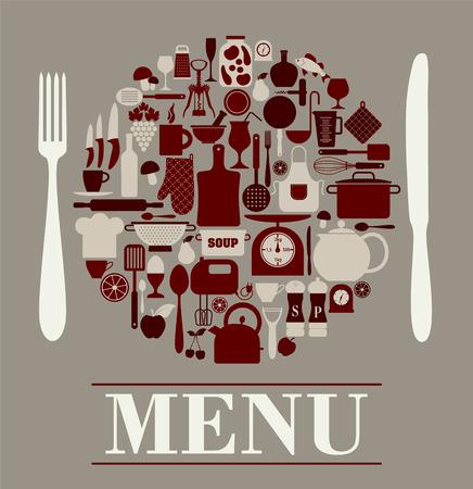 Menu restaurant design set of kitchen tools.
