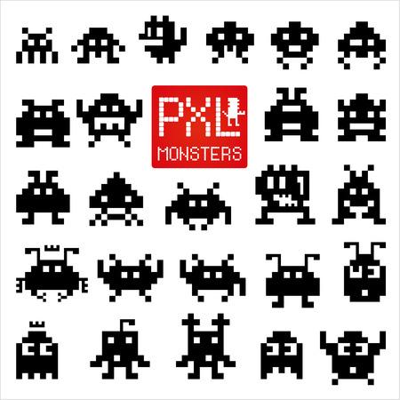 calavera caricatura: Conjunto de monstruos de p�xeles alegres y amables.