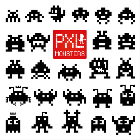 alien symbol: Set of cheerful and kind pixel monsters. Illustration