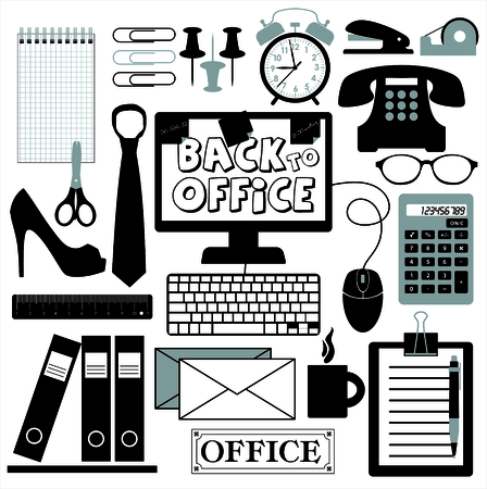 blak and white: Office set abstract background.