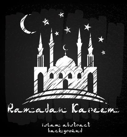 Greeting Card design avec la silhouette de la mosquée et le texte élégant Ramadan Kareem Banque d'images - 39348315