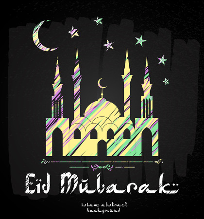 Greeting Card design with silhouette of mosque and stylish text Eid Mubarak.