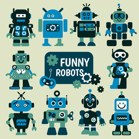 computer part: Funny robots set. 10 cheerful robots for design. Illustration
