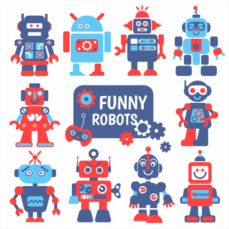 robots: Funny robots set. 10 cheerful robots for design. Illustration