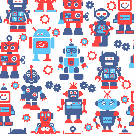 Robotrs color seamless pattern on white background. Vector