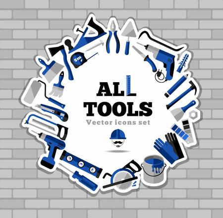 brick work: Buildings tools icons set. Flat design symbols.