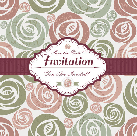 Wedding invitation card of vintage roses and frame. Vector