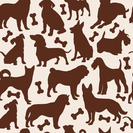 silhouette dog: Dog seamless pattern. Vector stok illustration of animals