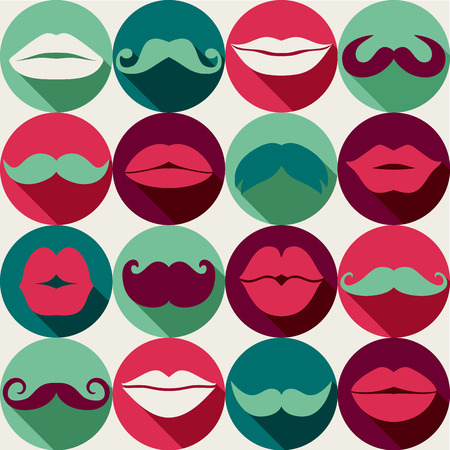 dali: Moustaches set. Design elements.Seamless pattern.