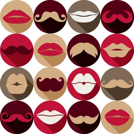 Moustaches set. Design elements.Seamless pattern. Vector