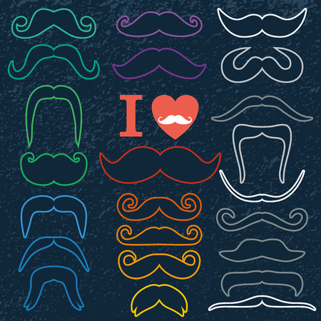 dali: Moustaches set. Design elements.Color icon of flat design. Illustration
