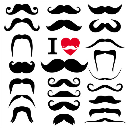 Moustaches set. Design elements.Color icon of flat design. Иллюстрация