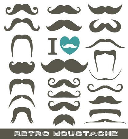 moustaches: Moustaches set. Design elements. Grey icon for design.