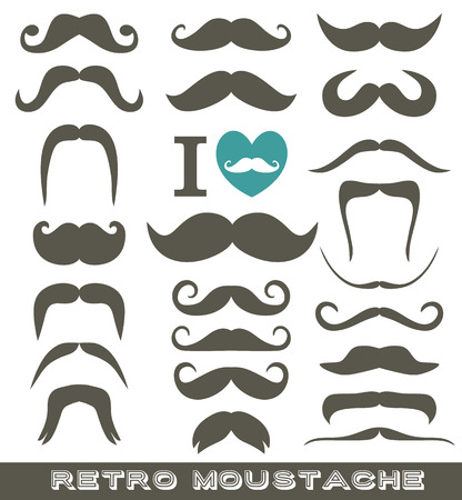 Moustaches set. Design elements. Grey icon for design.