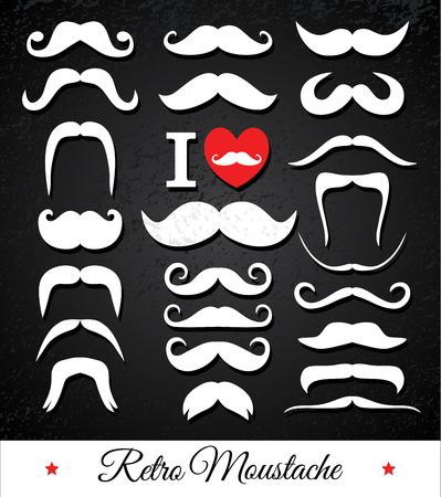 dali: Moustaches set. Design elements.White moustaches on black texture.