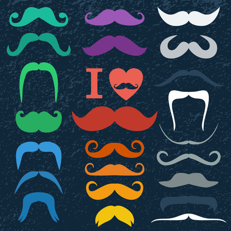 hair mask: Moustaches set. Design elements.Color icon of flat design. Illustration