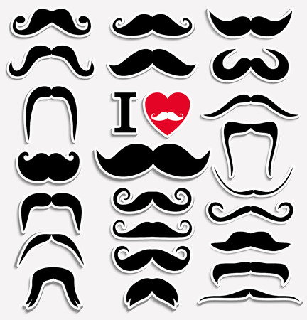 dali: Moustaches set. Design elements. Black icon for design.
