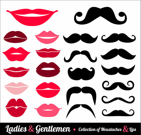 cartoon party: Collection of moustaches and lips