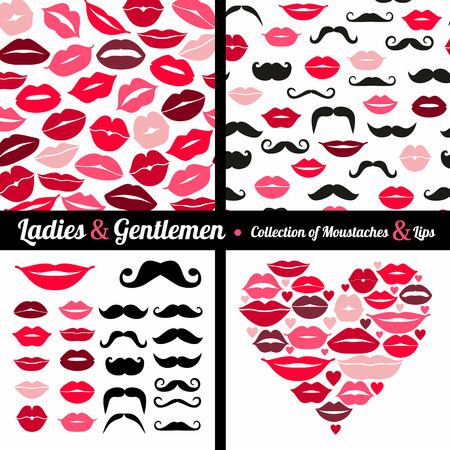 Collection of moustaches and lips Vector