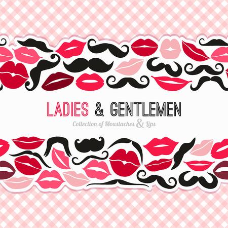 beso labios: Señoras y señores de fondo sin fisuras Vectores