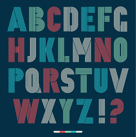 retro type: Retro stripes funky fonts set,trendy elegant retro style design. Vector design.