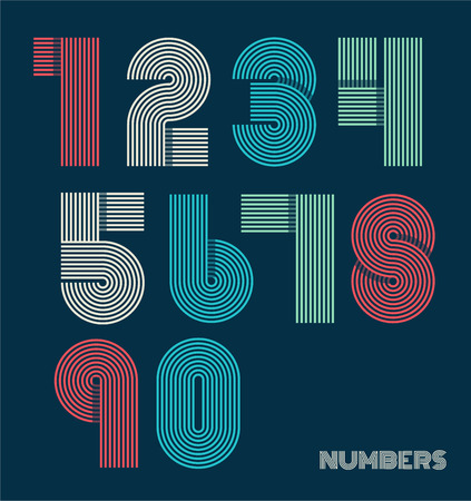 digital Numbers: Retro stripes funky numbers set,trendy elegant retro style design. Vector design.