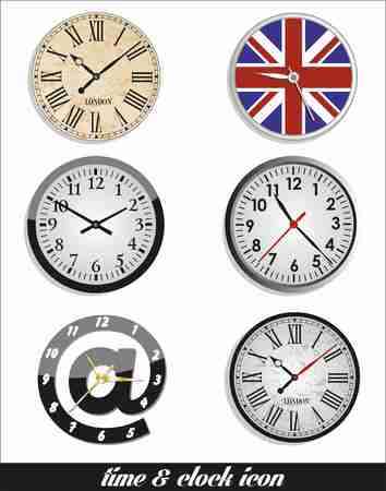 face silhouette: Time and clock set. vector design element.