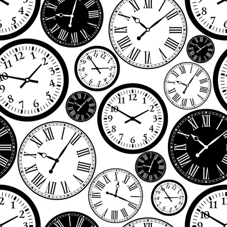 Clock seamless pattern. black and white background.