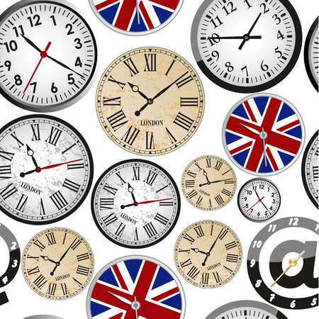 vintage clock: Clock seamless pattern