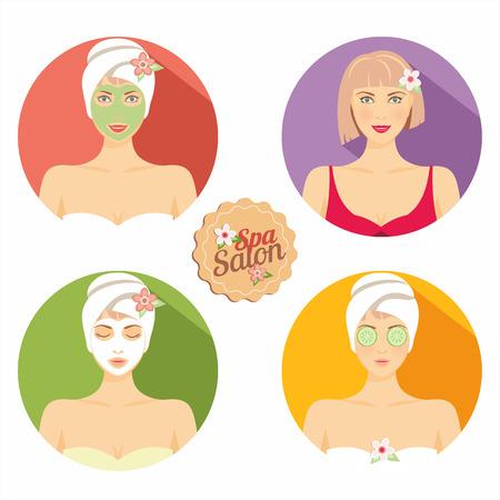 facial: Spa salon illustration with beautiful woman! Illustration