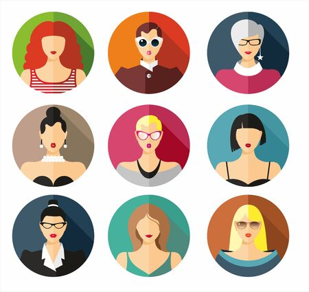 circulo de personas: Set of flat icons with women. Vector background.