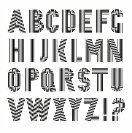 Retro Streifen Funky Schriftarten eingestellt trendy eleganten Retro-Stil Design. Vektor-Design. Standard-Bild - 40548180